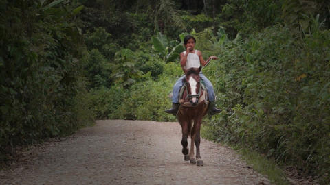 Shuar Girl Horse Riding Horse Stock Video Footage