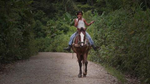 Shuar Girl Horse Riding Horse Footage