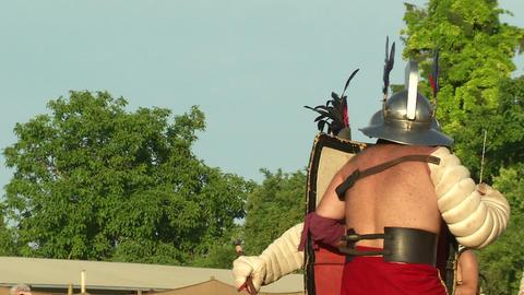 gladiator game Hoplomachus Thraex 04 Stock Video Footage