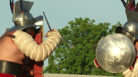 gladiator game Hoplomachus Thraex 11 Stock Video Footage