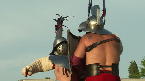 gladiator game Hoplomachus Thraex 13 Stock Video Footage