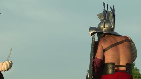 gladiator game Hoplomachus Thraex 17 Stock Video Footage