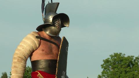 gladiator game Hoplomachus Thraex 19 Stock Video Footage