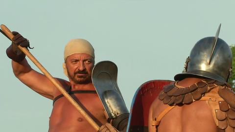 gladiator game Retiarius Secutor 02 Stock Video Footage