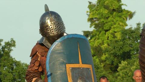 gladiator game Retiarius Secutor 04 Stock Video Footage