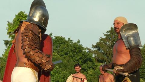 gladiator game Retiarius Secutor 08 Stock Video Footage