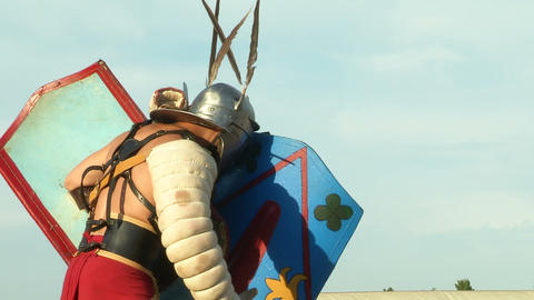 gladiator game Secutor Secutor 02 Stock Video Footage