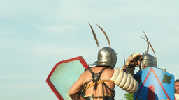 gladiator game Secutor Secutor 04 Stock Video Footage