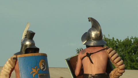 gladiator game Thraex Murmillo 02 Stock Video Footage