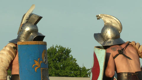 gladiator game Thraex Murmillo 04 Stock Video Footage