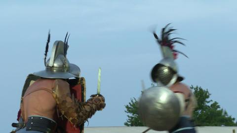 gladiator munus Hoplomachus Thraex 03 Stock Video Footage