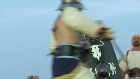 gladiator munus Hoplomachus Thraex 05 Stock Video Footage