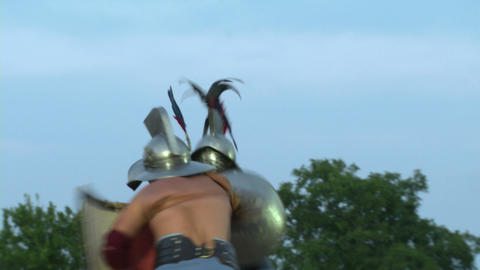 gladiator munus Hoplomachus Thraex 05 Stock Video Footage