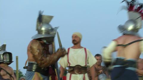 gladiator munus Hoplomachus Thraex 07 Stock Video Footage