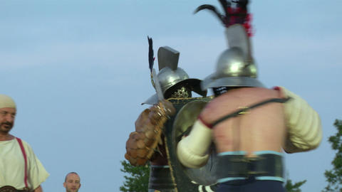 gladiator munus Hoplomachus Thraex 09 Stock Video Footage