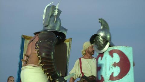 gladiator munus Thraex Murmillo 04 Stock Video Footage