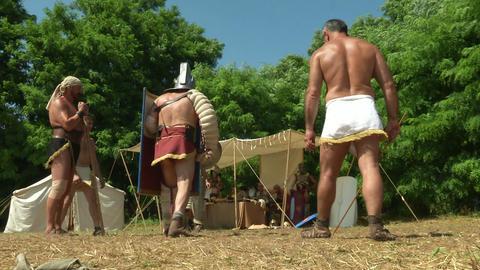 gladiator training Hoplomachus Thraex 03 Stock Video Footage