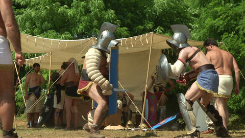 gladiator training Hoplomachus Thraex 05 Stock Video Footage