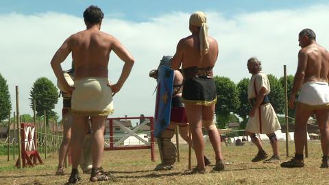 gladiator training Secutor Secutor 02 Stock Video Footage