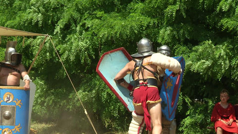 gladiator training Secutor Secutor 04 Stock Video Footage