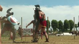gladiator training Thraex Murmillo 02 Stock Video Footage