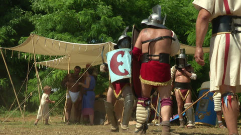gladiator training Thraex Murmillo 04 Stock Video Footage