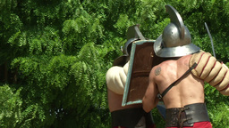 gladiator training Thraex Murmillo 06 Stock Video Footage