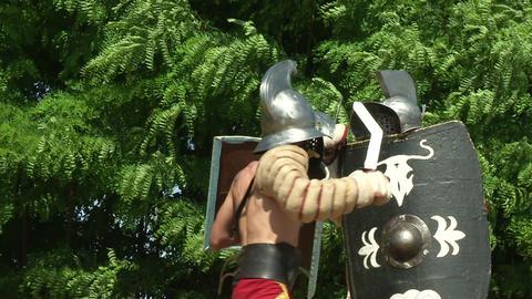 gladiator training Thraex Murmillo 08 Stock Video Footage