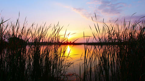sunset on the river Stock Video Footage