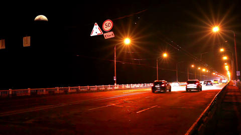 Timelapse of traffic on bridge at night Stock Video Footage