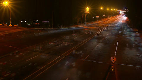 timelapse traffic of the city at night. Blurred mo Stock Video Footage