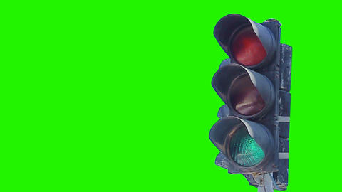 0115 traffic light green screen Stock Video Footage
