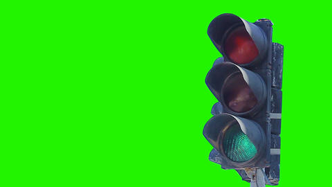 0115 traffic light green screen Stock Video Footage