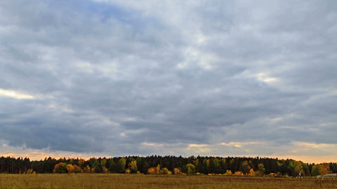 Rays of sun on a background autumn landscape. 4K Stock Video Footage