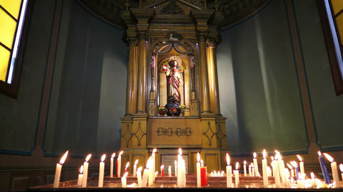 Church Altar Candles Dolly Stock Video Footage