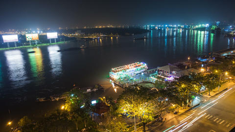 1080 - SAIGON RIVER AT NIGHT - HO CHI MINH CITY - Stock Video Footage