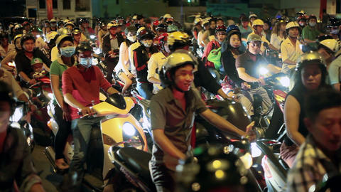 SCOOTER TRAFFIC - SAIGON, VIETNAM Stock Video Footage