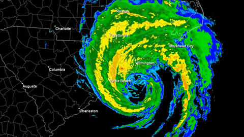 Hurricane Bertha (1996) Landfall Time Lapse stock footage