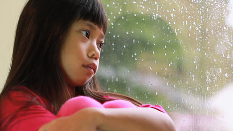 Sad Little Girl On Rainy Day Stock Video Footage