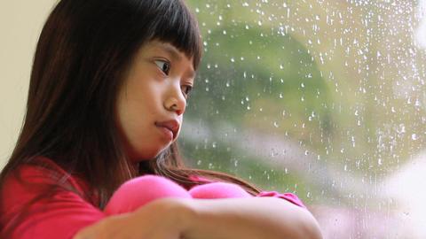 Sad Little Girl On Rainy Day Stock Video Footage