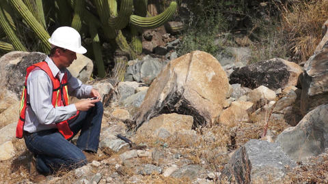 Geologist Man Data Collection Stock Video Footage