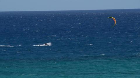 kitesurfer high speed fuerteventura beach 11210 Stock Video Footage