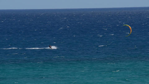 kitesurfer high speed fuerteventura beach 11210 Footage