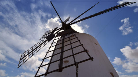 low angle windmill and clouds time lapse zoom 1121 Stock Video Footage