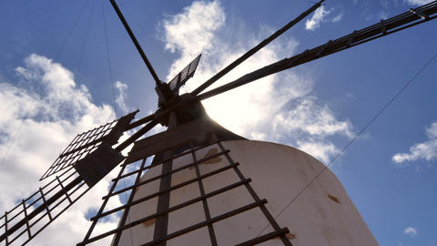low angle windmill and clouds time lapse zoom 1121 Footage
