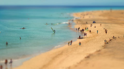 4k UHD human ants beach walk tilt shift pan 11219 Stock Video Footage
