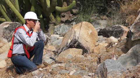 Geologist Man Loupe Stock Video Footage
