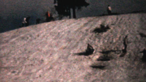Families Enjoying Tobogganing In Winter 1961 Stock Video Footage