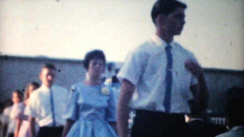 High School Graduation Processional 1961 Vintage stock footage