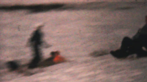 People Sledding In Winter 1961 Vintage 8mm film Stock Video Footage
